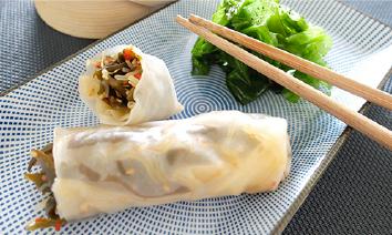 rouleaux de printemps à la salade esprit d'Asie MArinoë, recette express, facile, recette aux algues