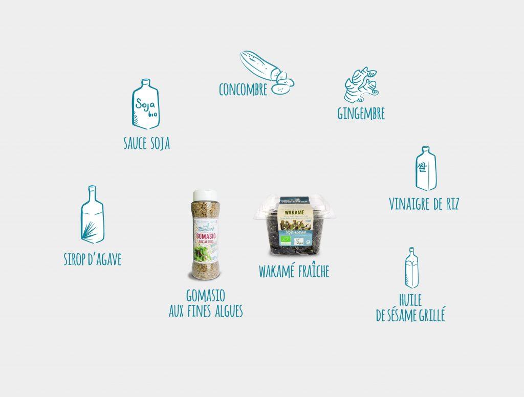 ingredients-recette-sunomono-wakame